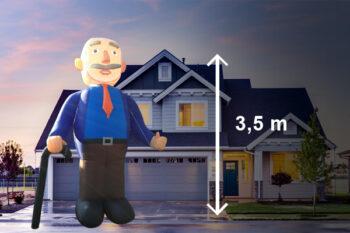 Abraham pop met wandelstok 3,5 meter hoog