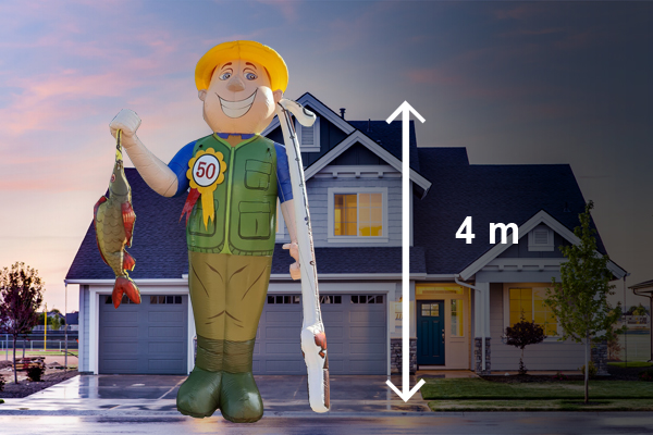Abraham pop visser 4 meter hoog